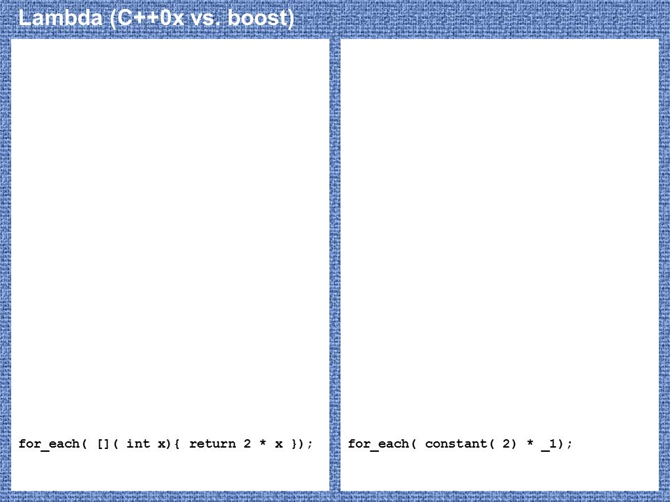 Lambda (C++0x vs. boost) for_each( []( int x){ return 2 * x });